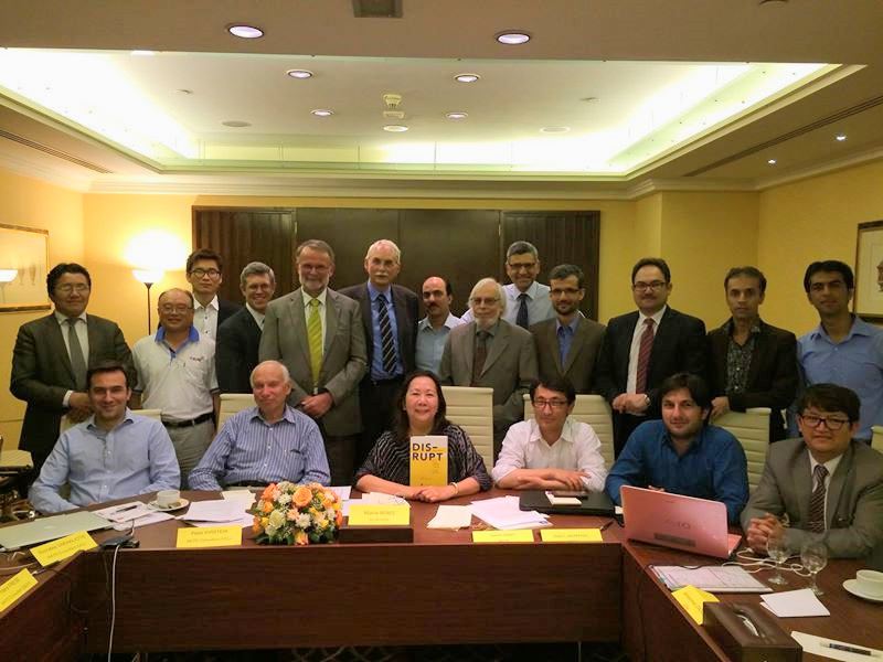 Maria Beebe (center) with esteemed colleagues at the Afghanistan Research and Education Network (AfgREN) WS-7 in Dubai.Photo by Maria Beebe