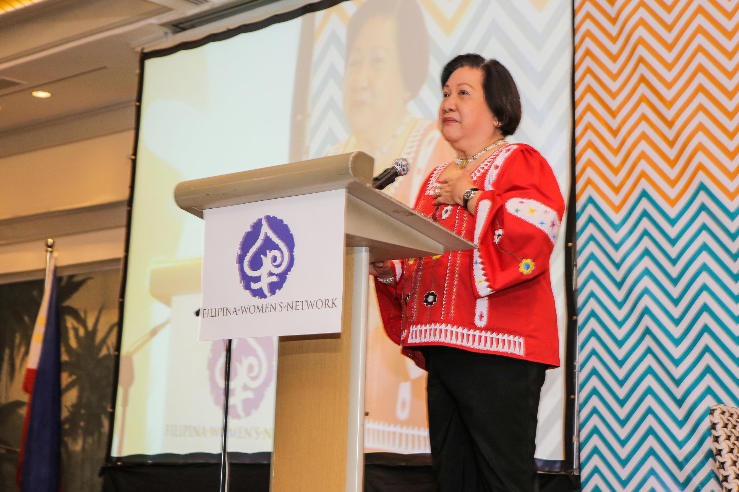 Former Governor of Antique Sally Zaldivar Perez representing Senator Loren Legarda at the #FWNSummit2016 in Cebu on August 24, 2016.