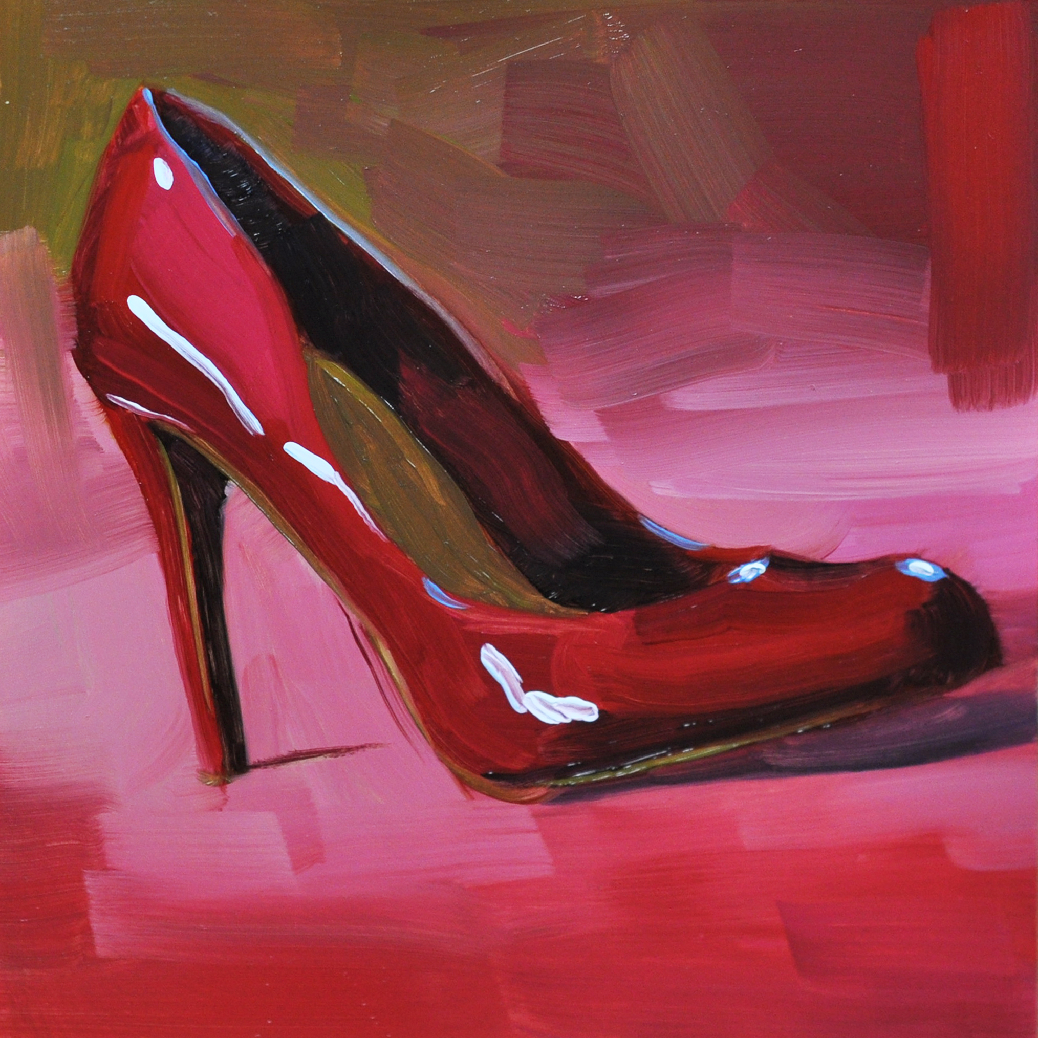 """""""Red Pump"""" oil on smooth Ampersand panel, 6""""x6"""", $50."""