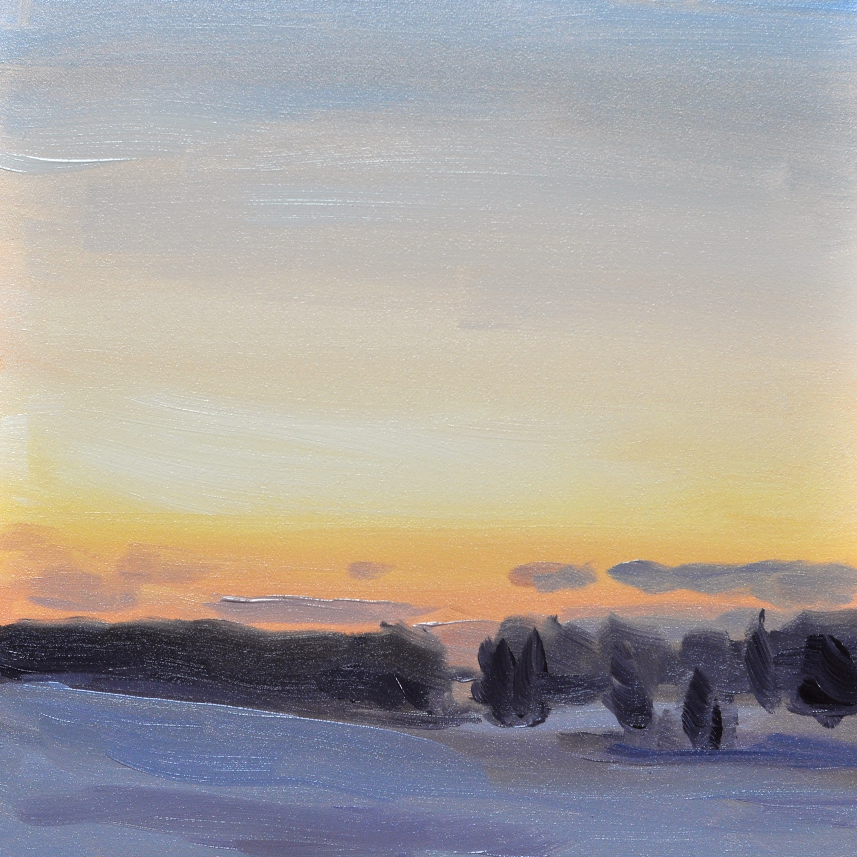 """Winter Sunset"", oil on flat panel gessobord, 6""x6"", $50"