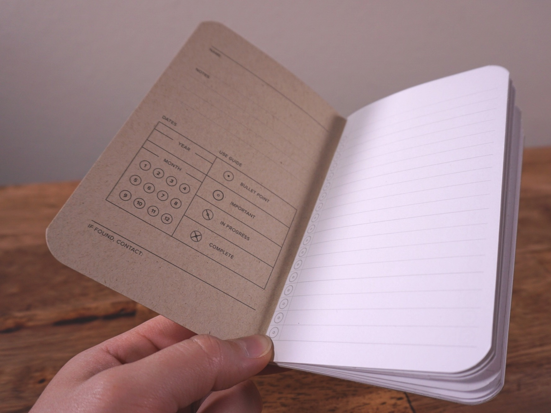 A look inside the lined notebook
