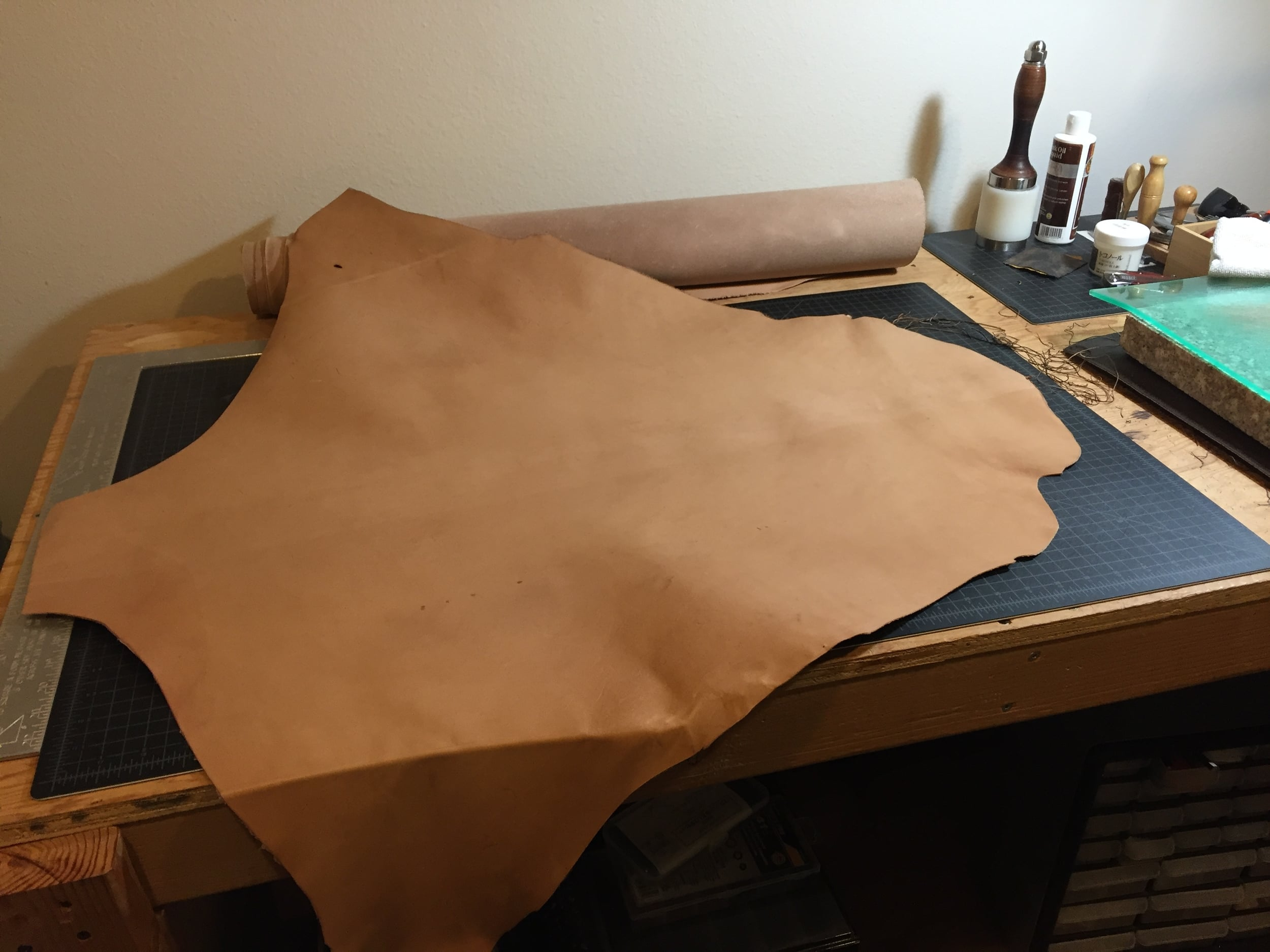 The kangaroo leather. It's roughly 6  sq ft.