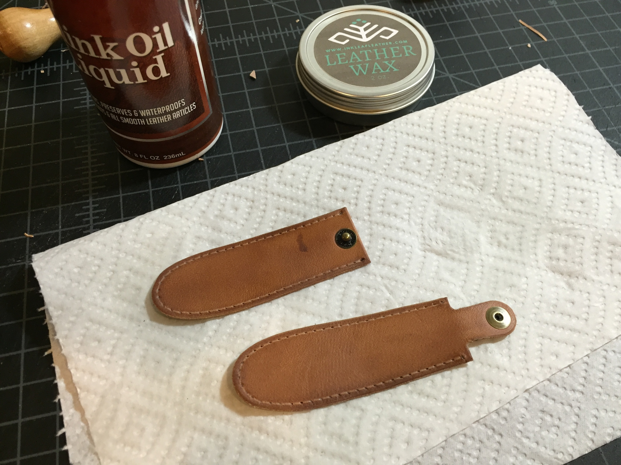 Some oil and wax. Ready to stitch.