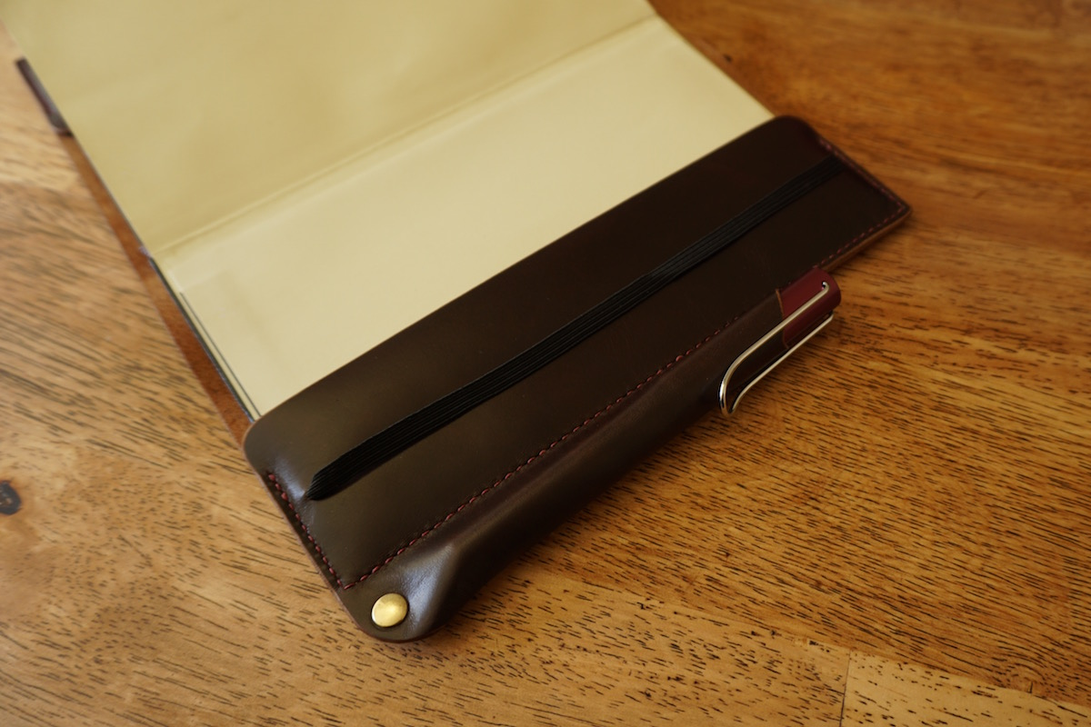 pen sheath leather moleskine notebook