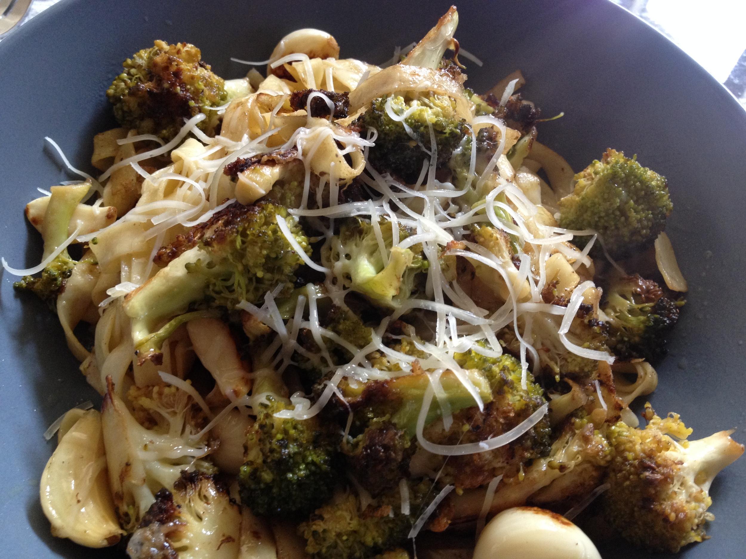 Roasted Broccoli + Fettucine