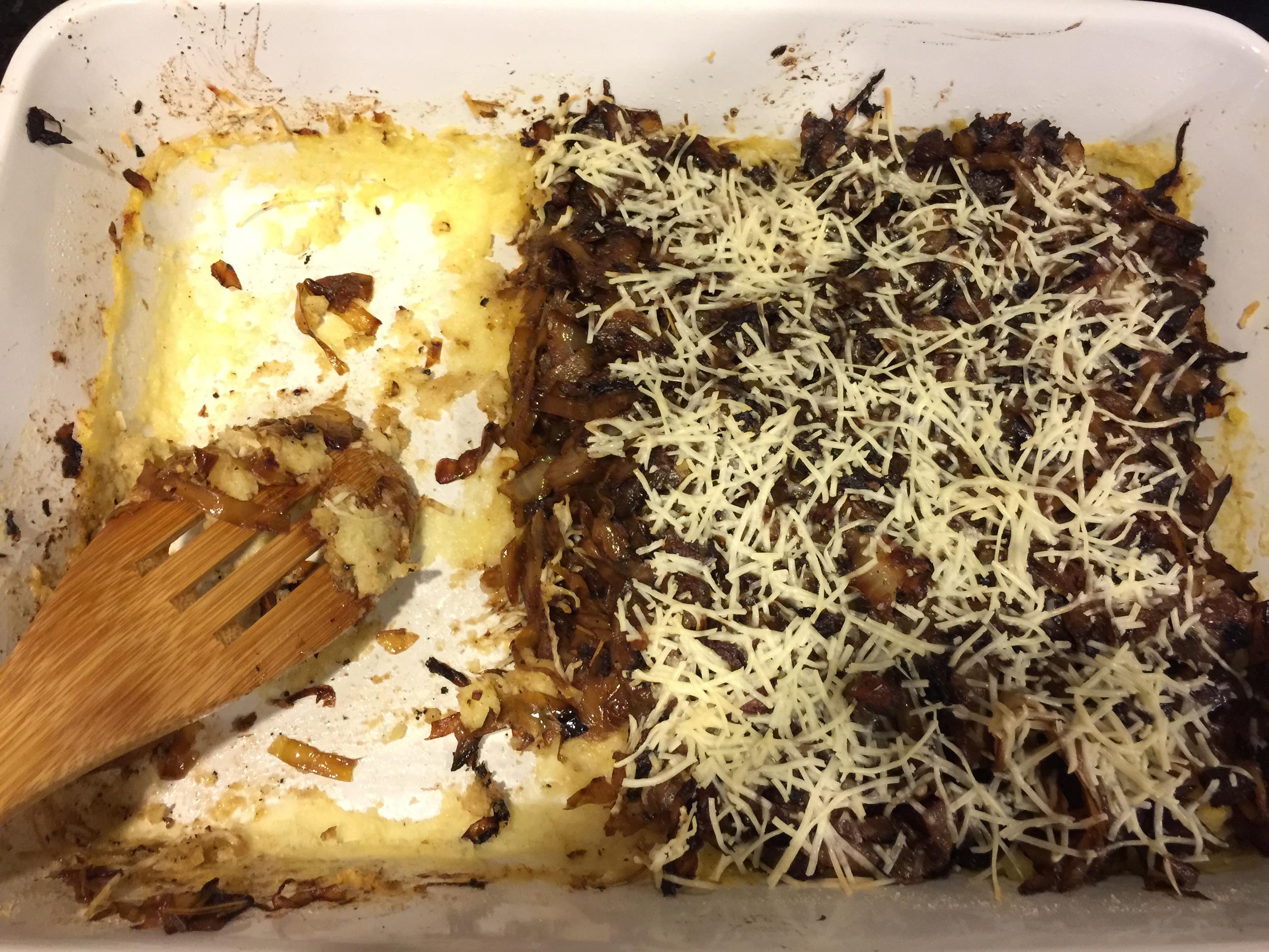 Caramelized Cabbage on Creamy Polenta