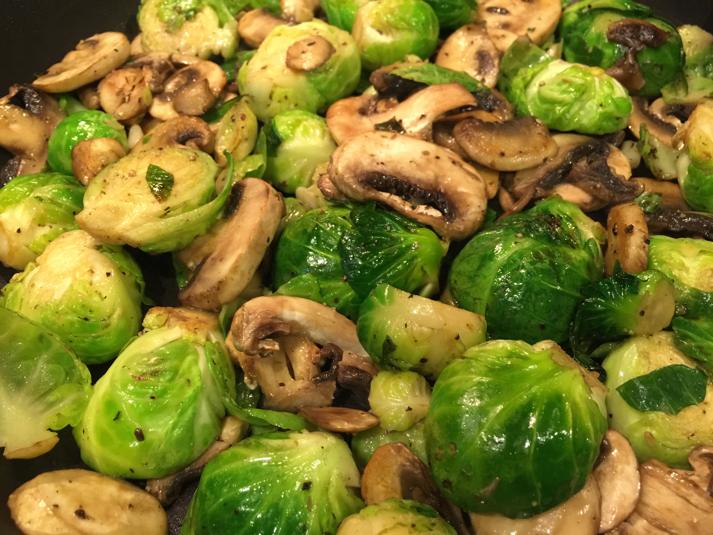 Brussel Sprouts + Mushrooms