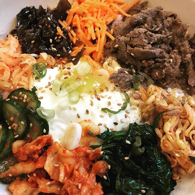 #bibimbap @finnhallhtx #yummy #koreanfood #veg #spicy #kimchi #theydonttakecashsoicried