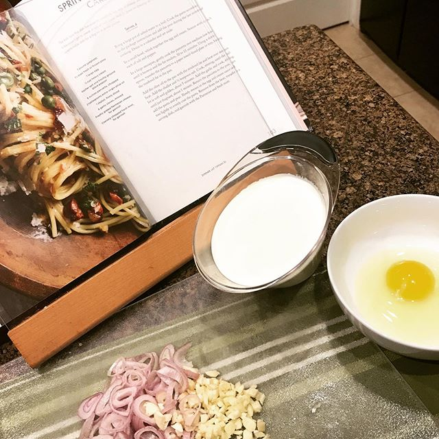 @tiffanithiessen making one of the many #delicious dishes from your wonderful cookbook #pullupachair 😍 Late night after a day of work calls for #carbonara