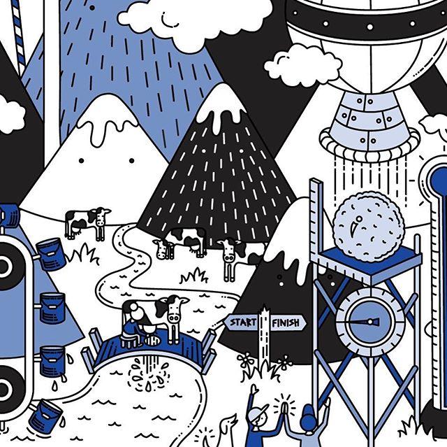 Fun little section of the custom illustration for @duoduoicecream 's ice cream truck. 🍦🍨🚐