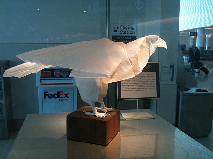 Robert J Lang origami falcon at the San Jose Airport  , originally uploaded by   margaretgouldstewart  .