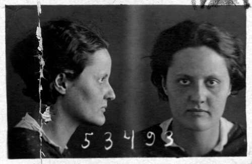 Mugshot of Eva Zeisel upon her incarceration at NKVD prison in Russia, 1936.