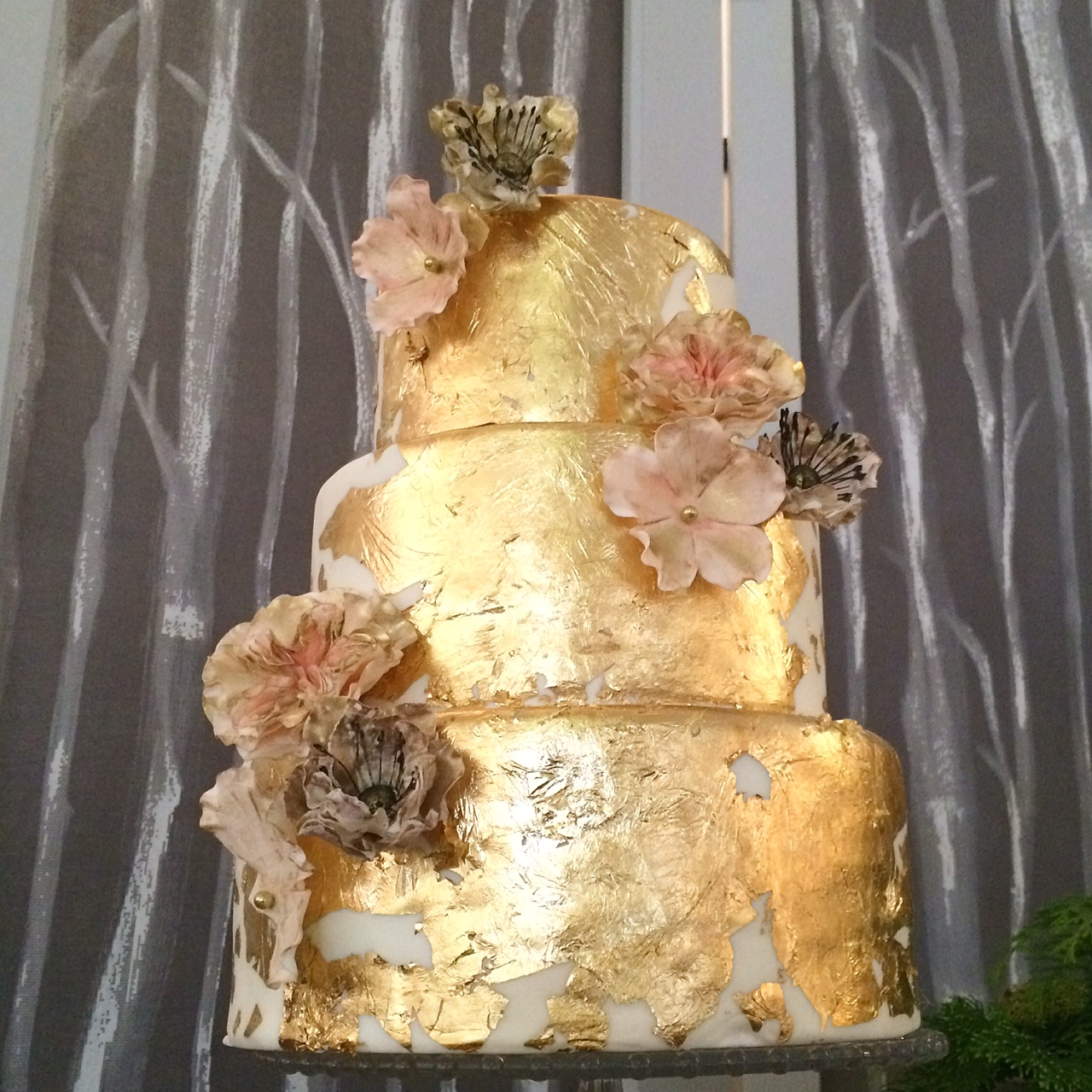 Gold leaf and sugar flowers
