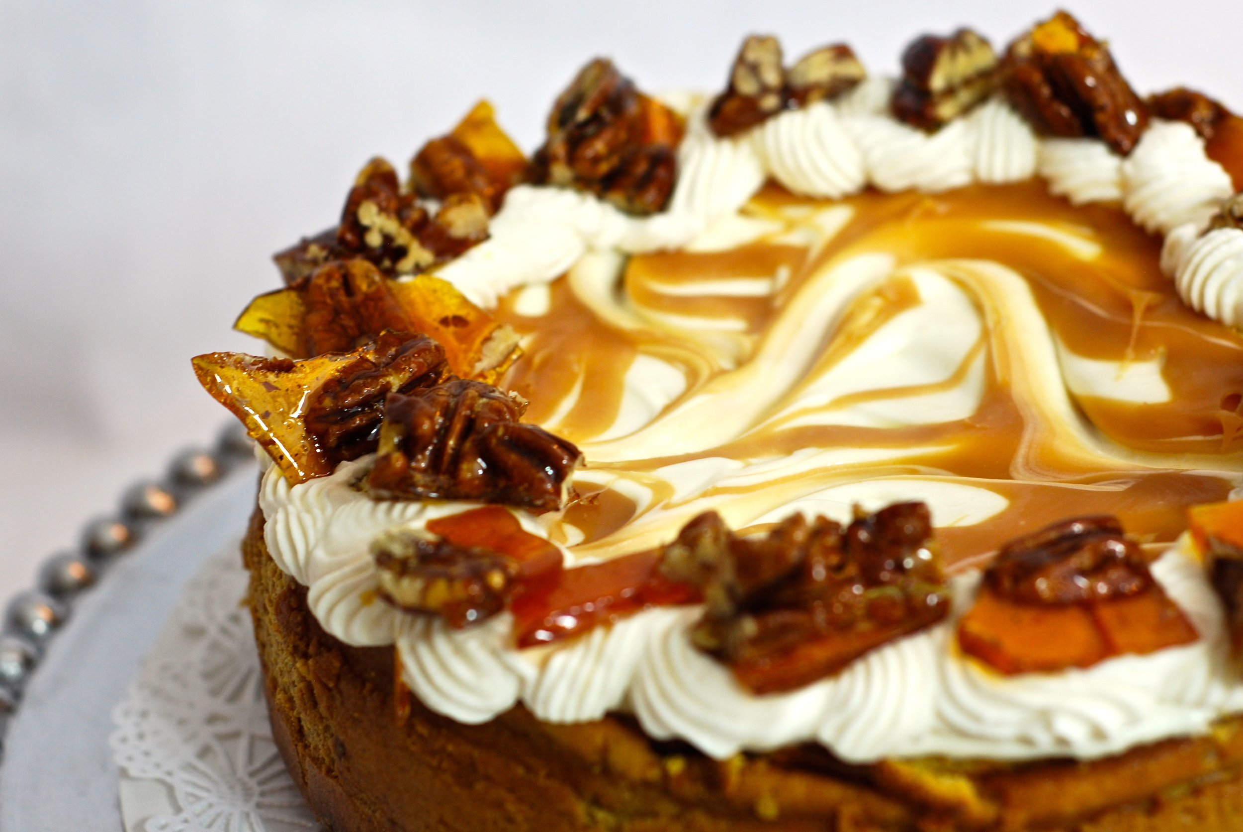 Pumpkin Cheesecake with Caramel Swirl and Pecan Brittle