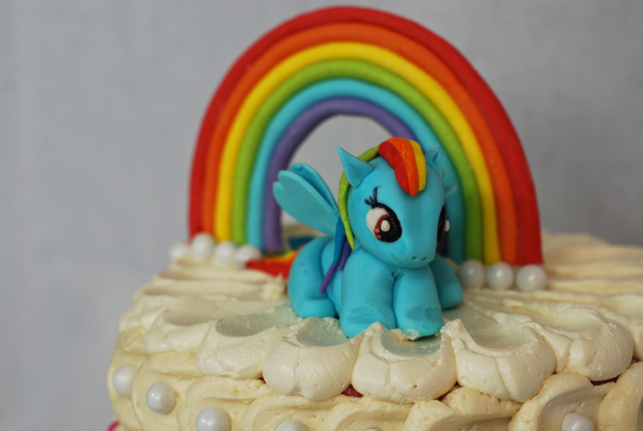 Rainbow Dash sculpted out of our homemade marshmallow fondant.