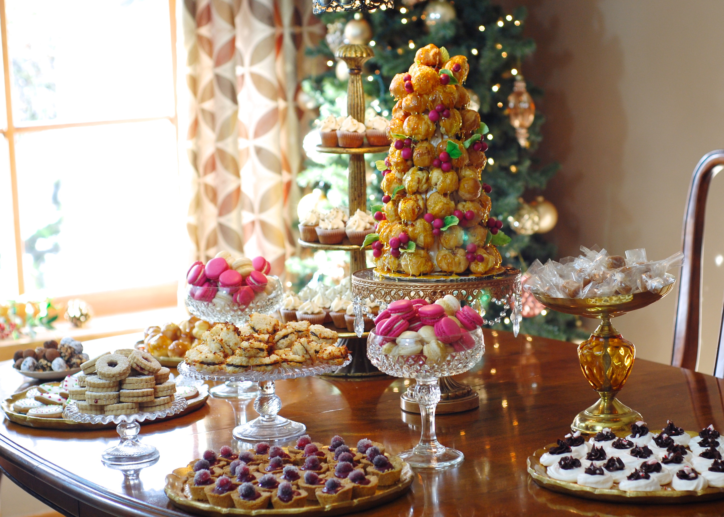 The Dessert Buffet: Croquembouche, Macarons, Homemade Caramels, Peppermint Meringues filled with Chocolate Ganache, Cranberry Hazelnut Tartlets, Macaroon Sandwich Bites filled with Chocolate Ganache, Raspberry Linzer Cookies, Gingerbread Cookies, Cream Puffs & Pumpkin Spice Cupcakes.
