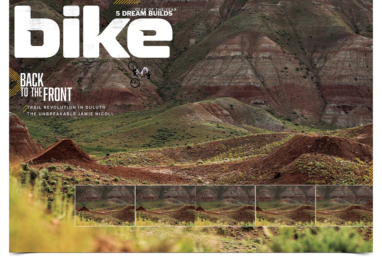 bike magazine cover shot Tom Vansteenvbergen 70 foot front flip