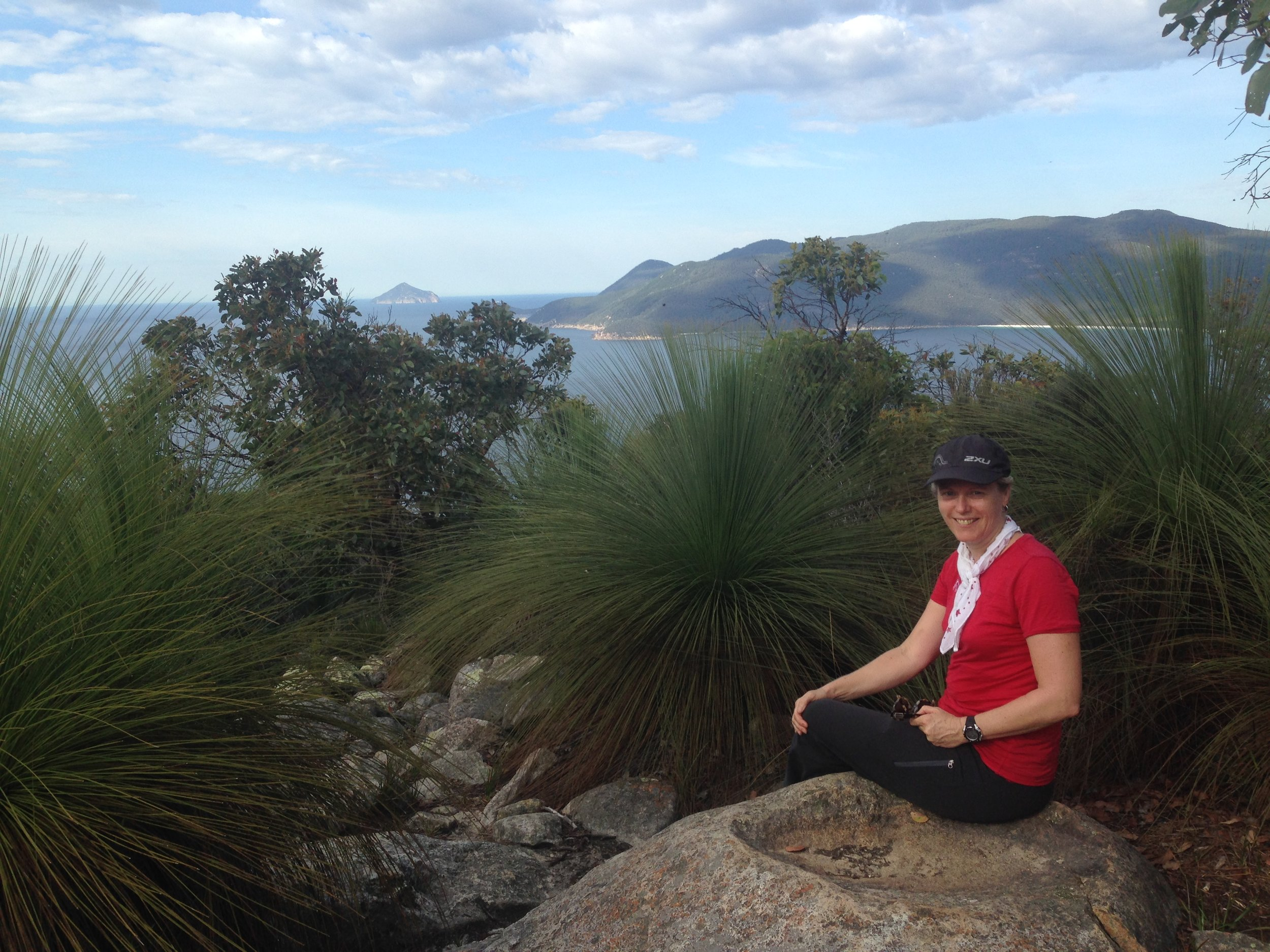 Sally Piper at Wilsons Promontory, where her novel is loosely based. Piper did a five-day solo hike in the area as research for the book.  Photo: Supplied