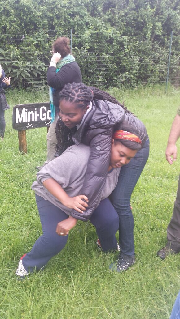 The awesome Rehema (Naija represents!!!) attempts to carry me in an emergency.