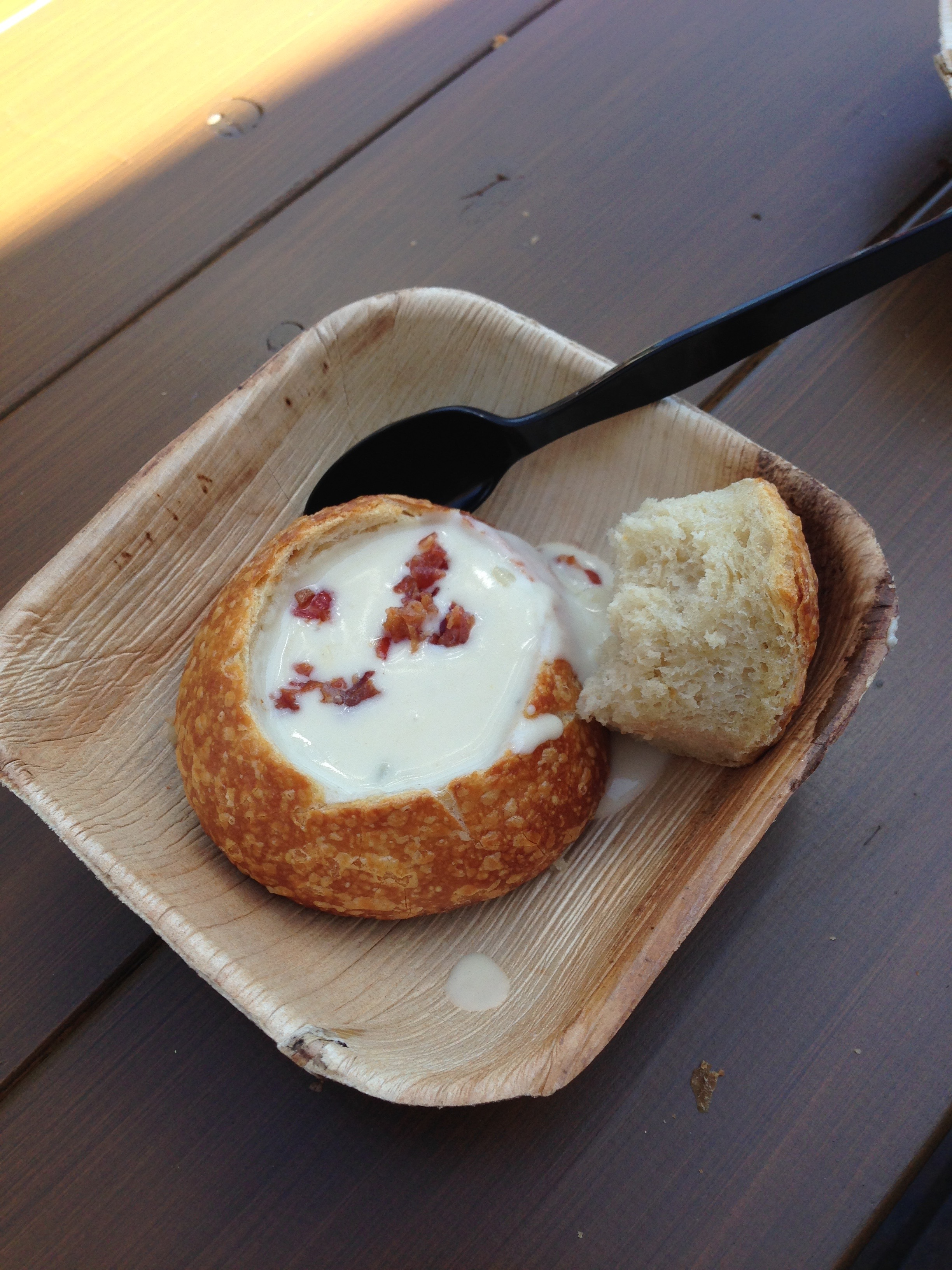 *White Cheddar Ale and Bacon Soup in a Mini Boudin Sourdough Bowl (By the Bay booth)