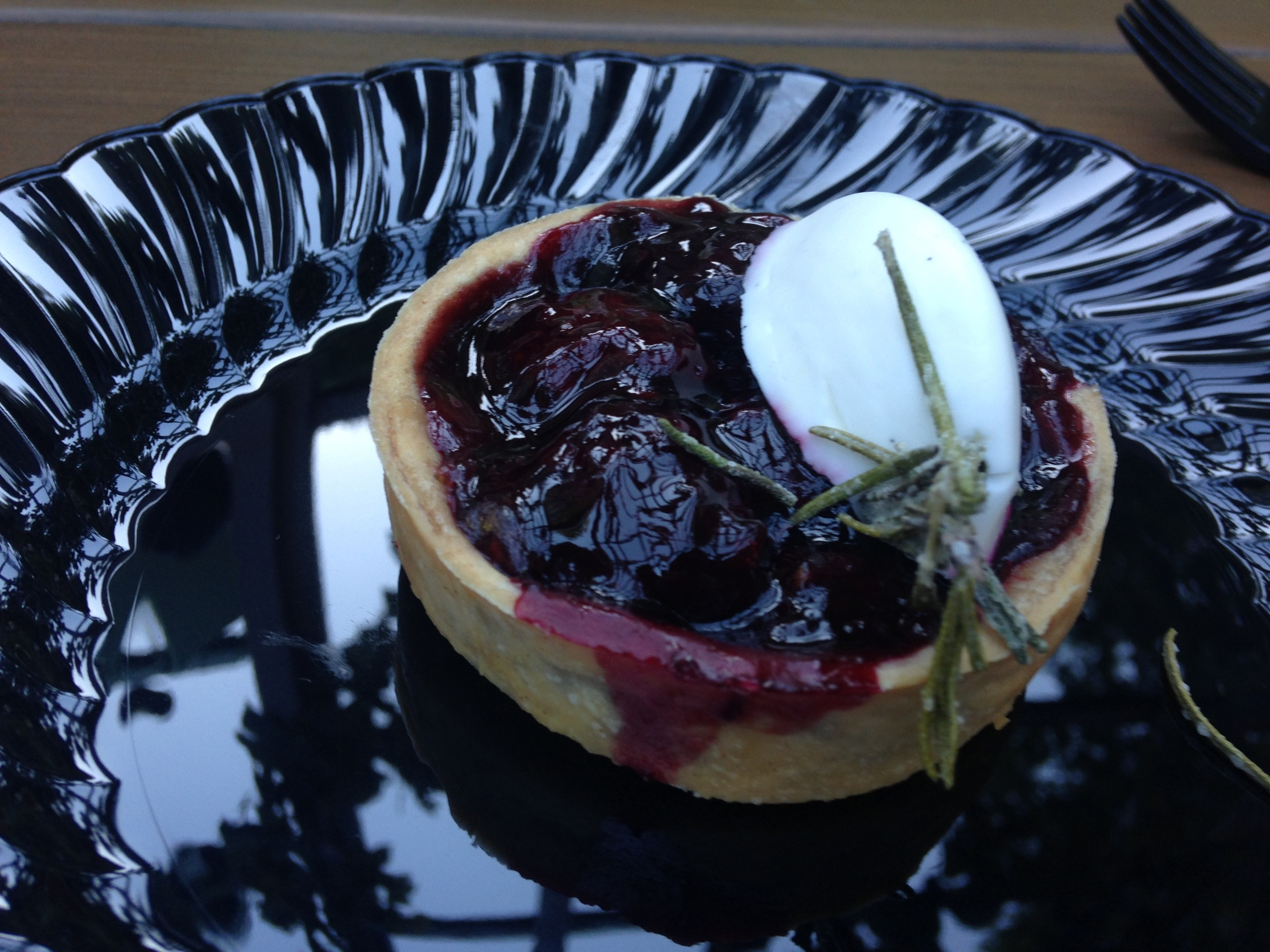 *Blackberry Tart with Rosemary Vanilla Bean Creme Fraiche and Cabernet Wine Glaze (Wine Country booth)