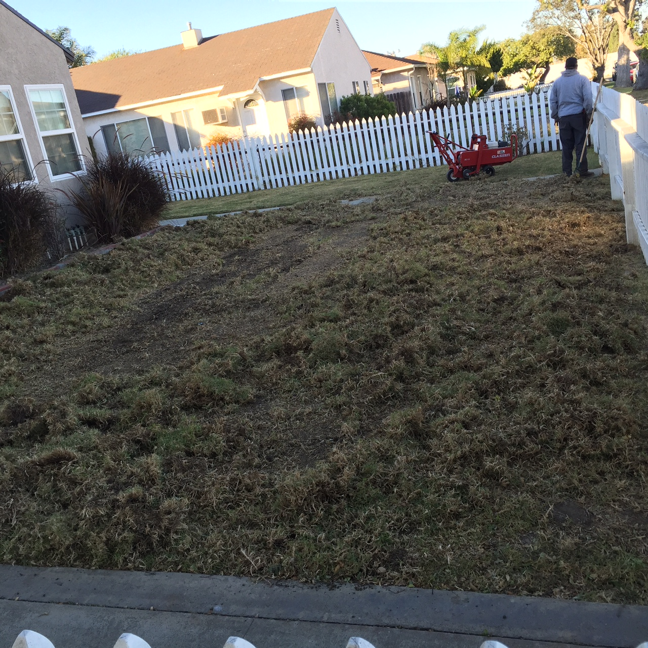Euclid Property during lawn removal process.