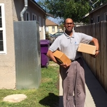 Vernon moving into his new HOPE home in Long Beach.