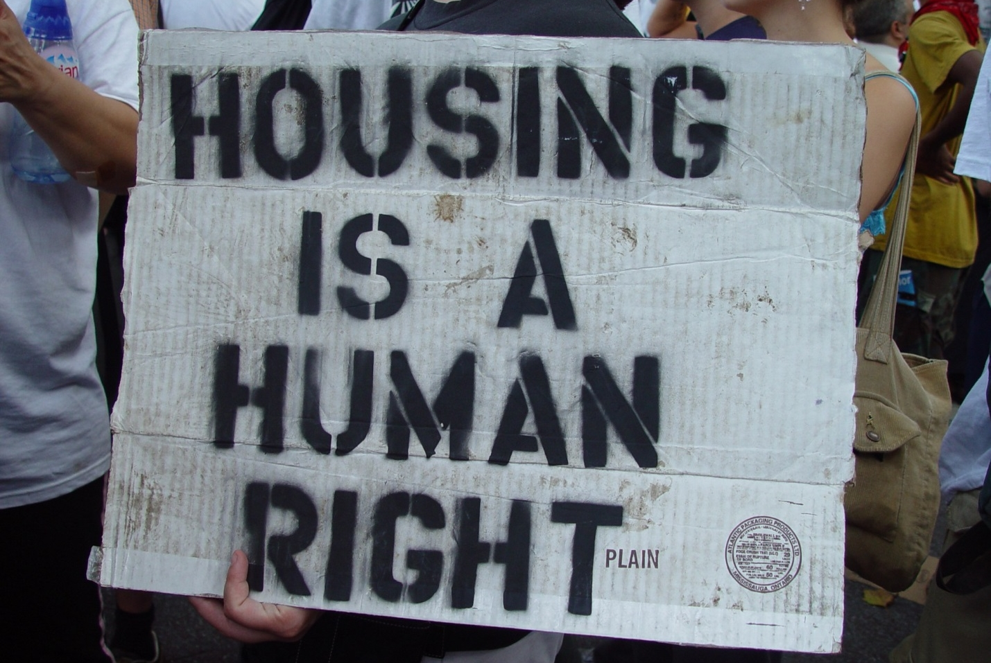 Protesters at an affordable housing rally.