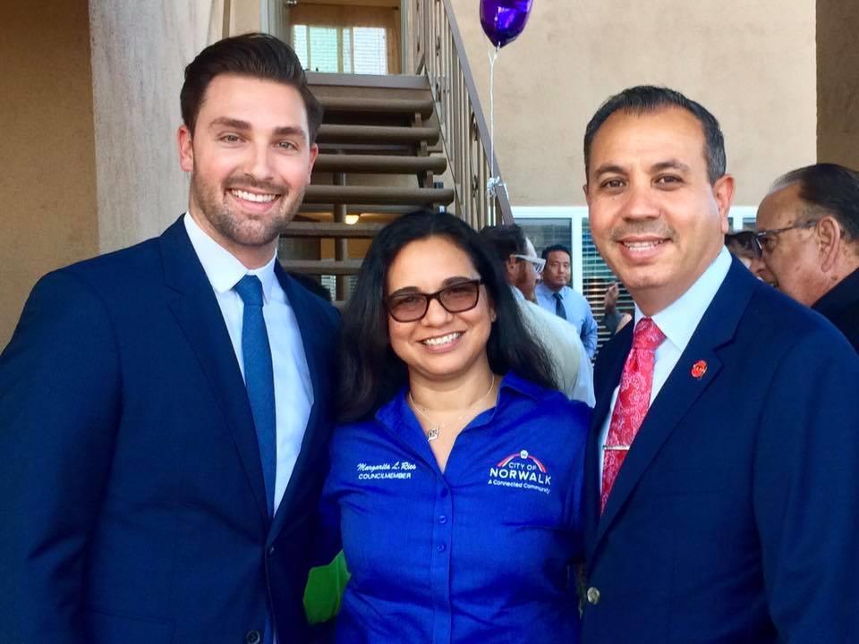 Assembly Majority Leader Ian Calderon, Council Member Margarita Rios, and Senator Tony Mendoza