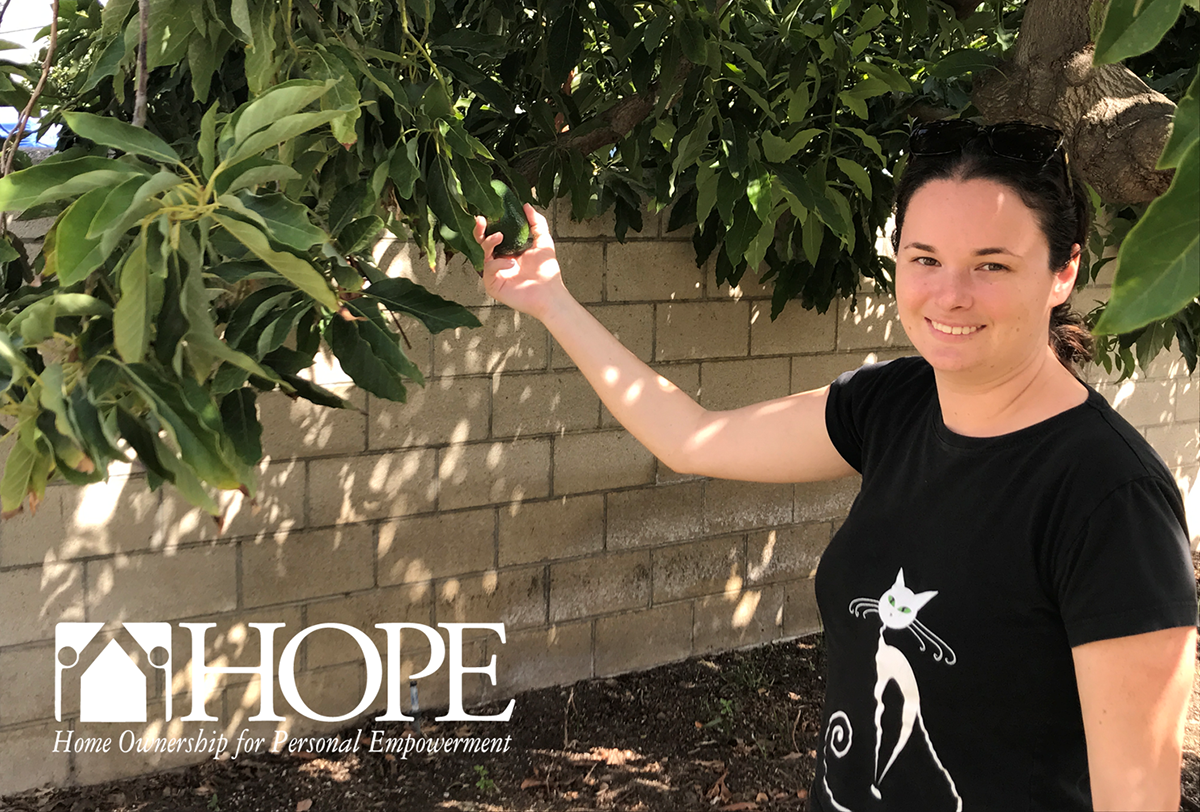 Emily enjoys the garden and trees at her new HOPE Independent Living Home in Norwalk.