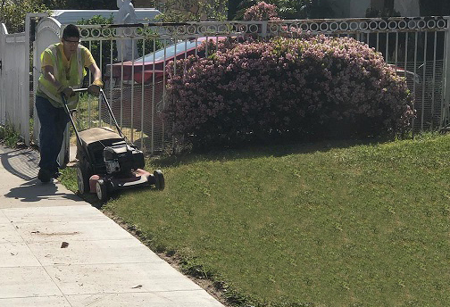 SVS Gardener mowing HOPE Lawn. (SVS)