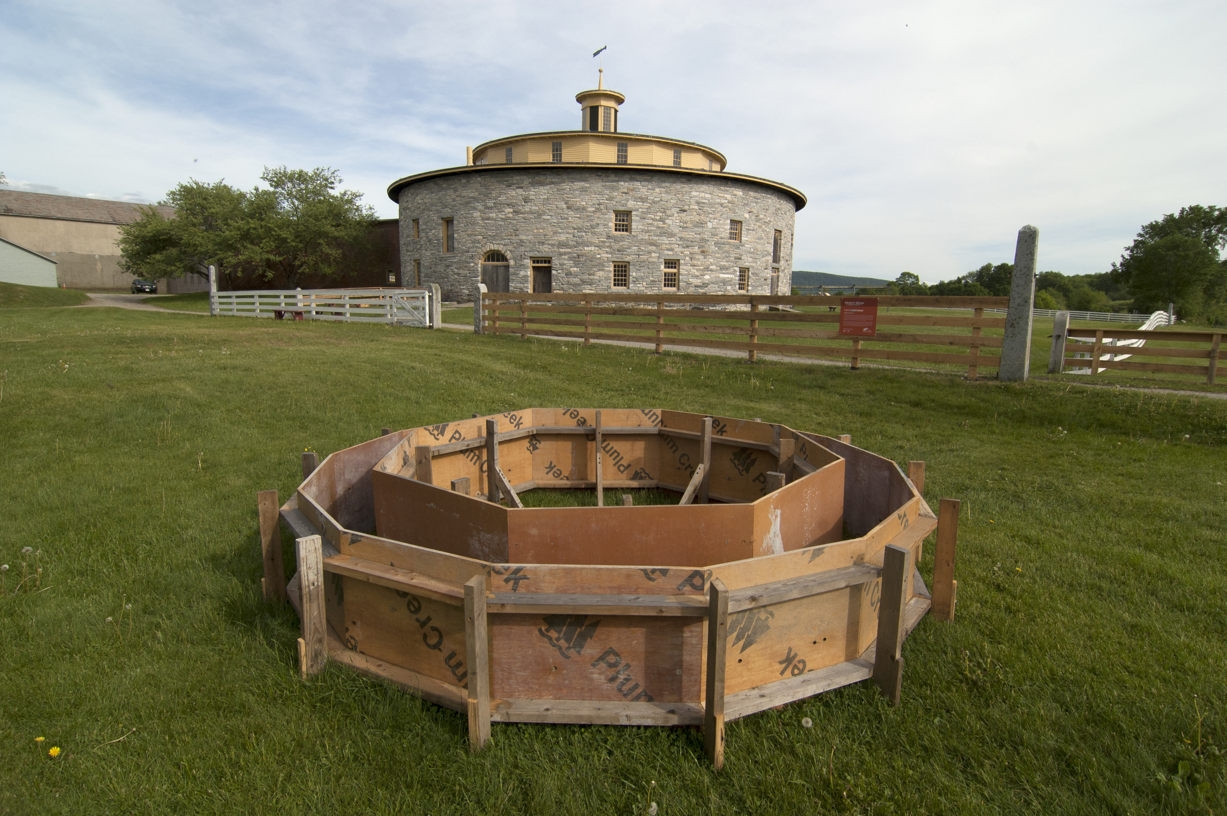 Eight into Fourteen,  Fritz Horstman, 2015, 3 x 14 x 14', reclaimed construction material, commissioned by Hancock Shaker Village.