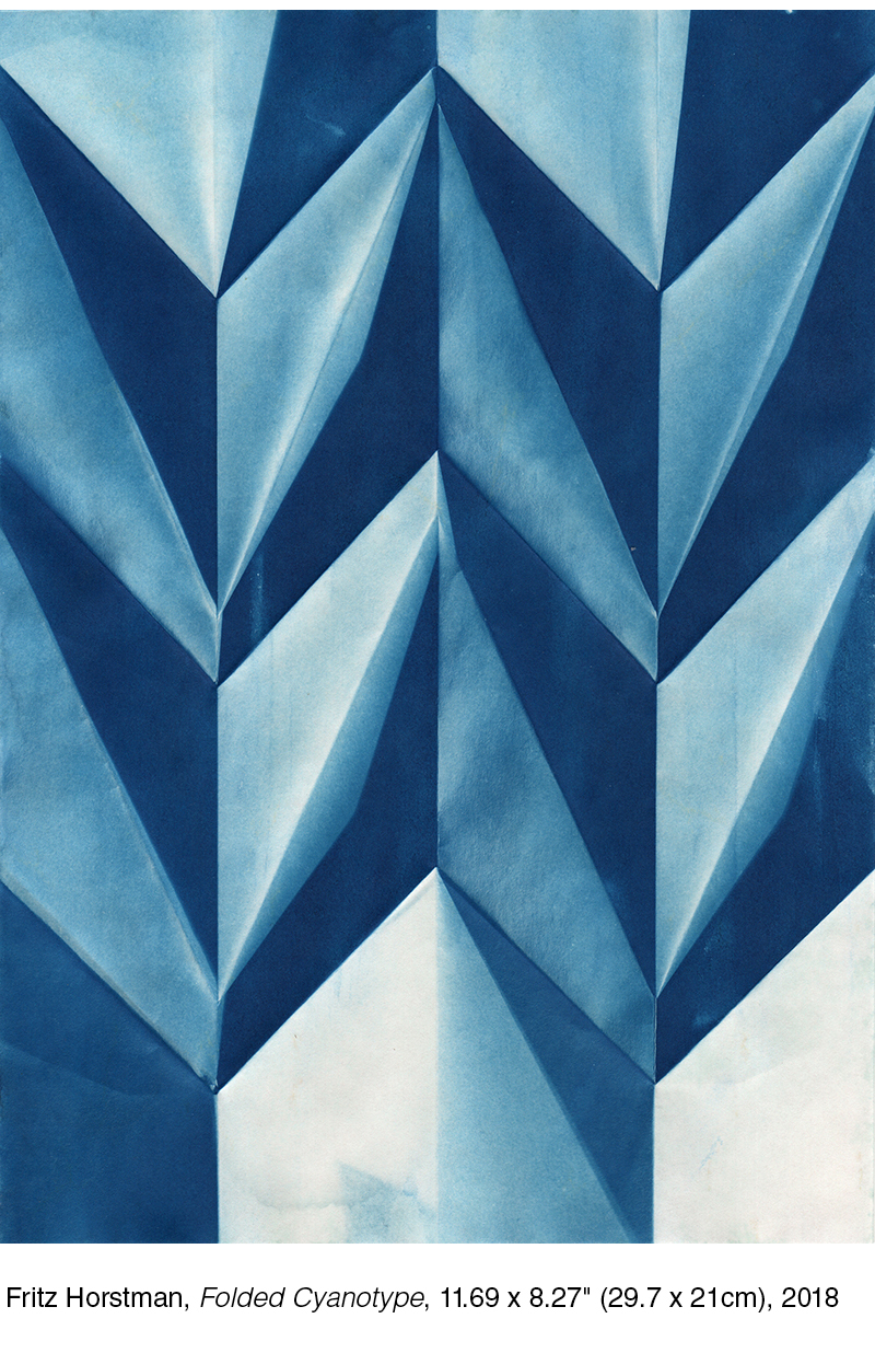 "Fritz Horstman  Folded Cyanotype,  11.69 x 8.27"" (29.7 x 21cm), 2018"