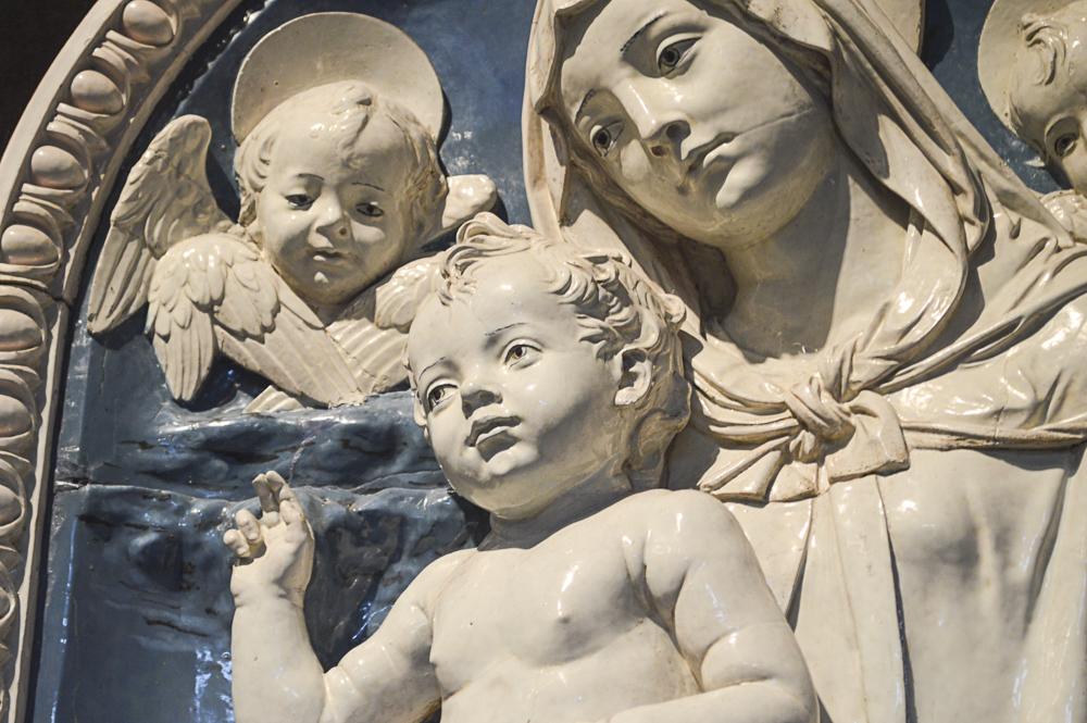 Madonna and Child, about 1490-1500, Andrea della Robbia, Italian, enameled terra cotta