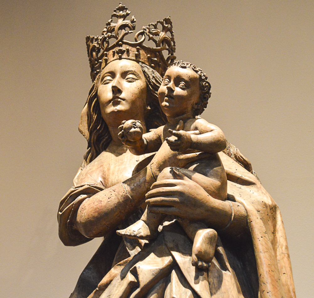 Virgin and Child on the Crescent Moon, about 1480, Circle of Michel Erhart, German (Ulm), Limewood, traces of paint