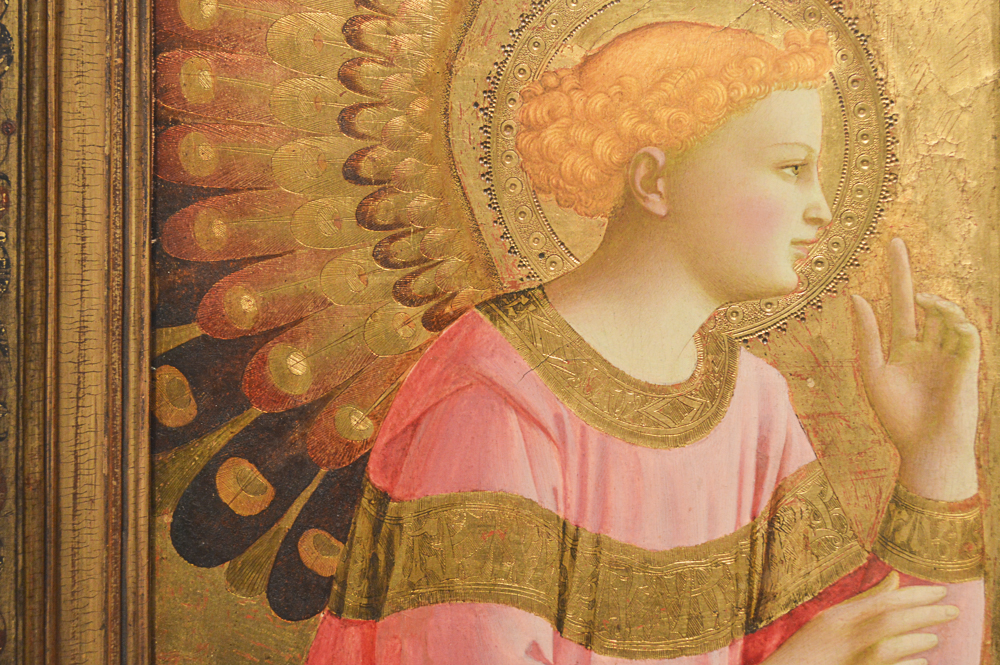 Annunciatory Angel, about 1450-55, Fra Angelico (Fra Giovanni da Fiesole), Italian, tempera on panel