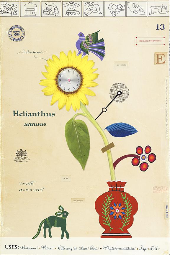 Sunflower with Clock - 36x24