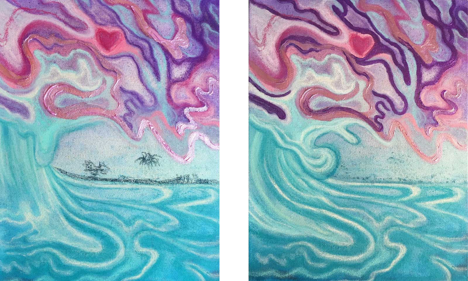 Shown here are two different photos of the same painting, before and after fixing the curve of the wave's wall.