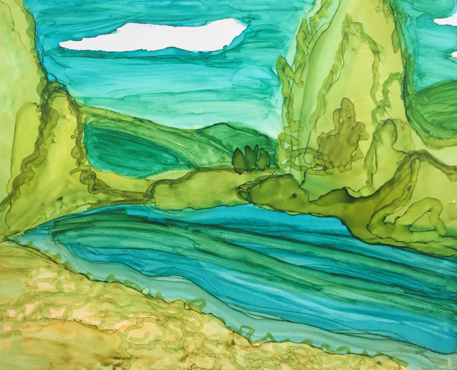 A painting of Lemon River. First time basing a piece off of specific scenery with alcohol ink.