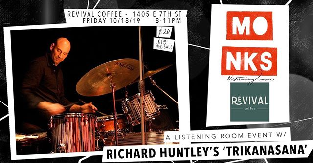 This Friday, Oct 18th, recent Austin transplant and Butler School of Music faculty member, @rlhuntleydrum reunites with tenor saxophonist #emilhess from Copenhagen, aided by @jonlundbom and @t.has.bass. Richard and Emil met at a jam session in New York have been playing together since 1996, releasing four albums together, and playing many jazz festivals worldwide, most recently the Copenhagen Winter Jazz festival and the Turku (Finland) jazz festival in 2019.⁣ ⁣ The Quartet will perform originals by Huntley, Hess, and lesser known jazz standards, combining the sounds of hard bop, free jazz, and Afro-Cuban stylings along with a more open Nordic ECM sound.⁣ ⁣ Visit ---  rlhuntley.com⁣ ⁣ -----⁣ ⁣ @revival.coffee (1405 E 7th St.)⁣ All Ages | $20/$15 Pre-sale⁣ Doors @ 8pm⁣ Sets @ 8:30pm & 10pm⁣ ⁣ Richard Huntley - Drums⁣ Emil Hess - Saxophone⁣ Jon Lundbom - Guitar⁣ Tarik Hassan - Double Bass⁣ ⁣ @violetsoundatx will be spinning fresh and classic vinyl before, between, and after sets⁣ ---⁣ ⁣ Beer and wine are available at the Revival counter, as well as kombucha, espresso, tea, and more. ⁣ ⁣ ⁣ #jazz #listeningroom #diy #popupshop #doublebass #drums #saxophone #guitar #monksjazz  #revivalcoffee #eastaustin #quartet #austintexas #eastaustin
