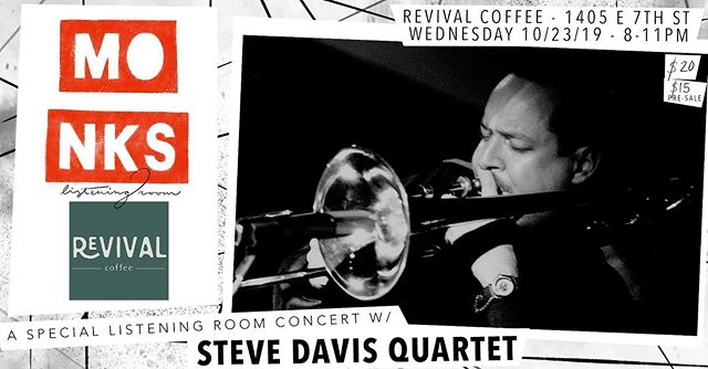 "This Wednesday, October 23rd, don't miss the legendary trombonist @stevedavis1967 for an intimate, listening-room style concert as part of our pop-up jazz series @revival.coffee:  Born in Worcester, MA in 1967, Davis was raised in Binghamton, NY and graduated in 1989 from Hartt School's Jackie McLean Institute. It was with McLean's guidance and recommendation that Davis landed his first major performance with Art Blakey in NYC.  Steve has released 20 albums including: Think Ahead (2017), Say When (2015), For Real & Gettin' It Done (2014) featuring his longtime musical colleagues Larry Willis and Nat Reeves along with drummer Billy Williams, saxophonists Abraham Burton (For Real), Mike DiRubbo and trumpeter Josh Bruneau (Gettin' It Done), in addition to over 100 recordings with names including: Chick Corea, Freddie Hubbard, Horace Silver, Cedar Walton, and Hank Jones. In 2018 his original composition ""Optimism"" was included in Christian McBride's Grammy Award winning album ""Bringin' It"". Steve Davis' latest release with his sextet ""Correlations"" (label: Smoke Sessions Records) features Joshua Bruneau, trumpet; Wayne Escoffery, tenor saxophone; Xavier Davis, piano; Dezron Dougles, bass; Jonathan Barber, drums; and Caro Baptista, percussion on ""Batista Revenge"". visit ---  stevedavismusic.com ----- @revival.coffee (1405 E 7th St.) All Ages 