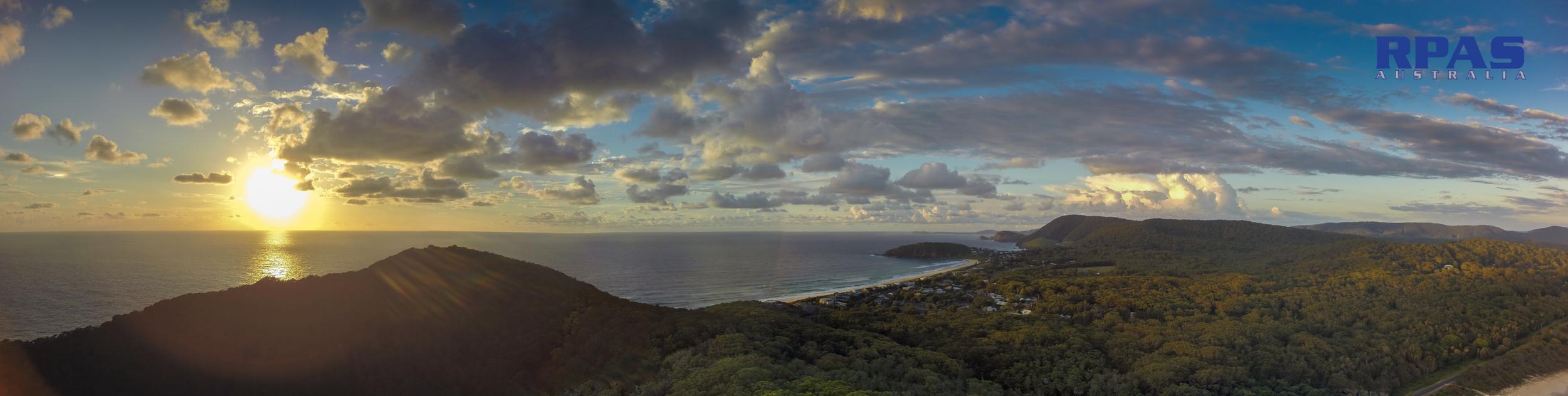 Coastal panorama sunrise