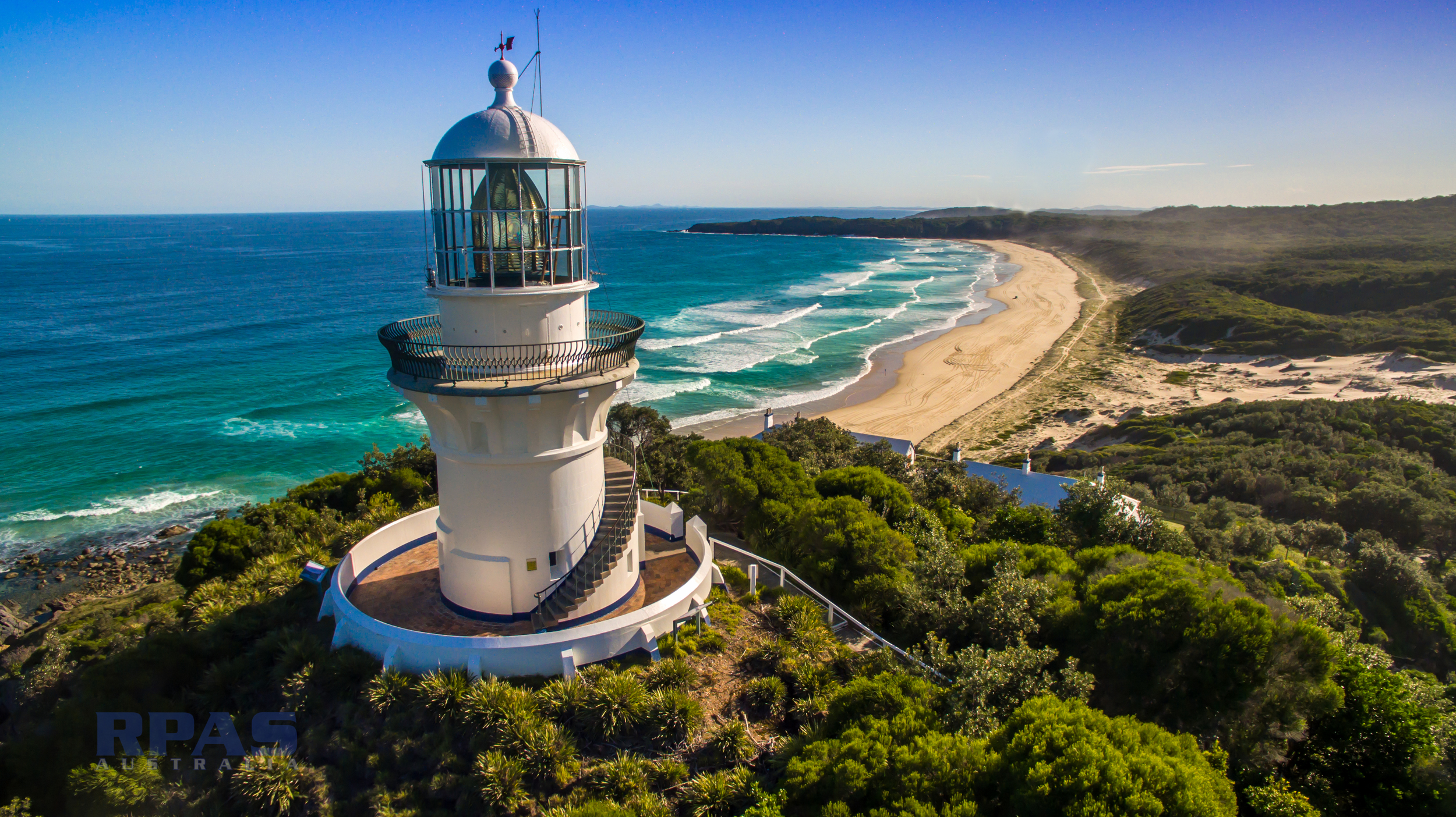 coastal lighthouse aerial inspection