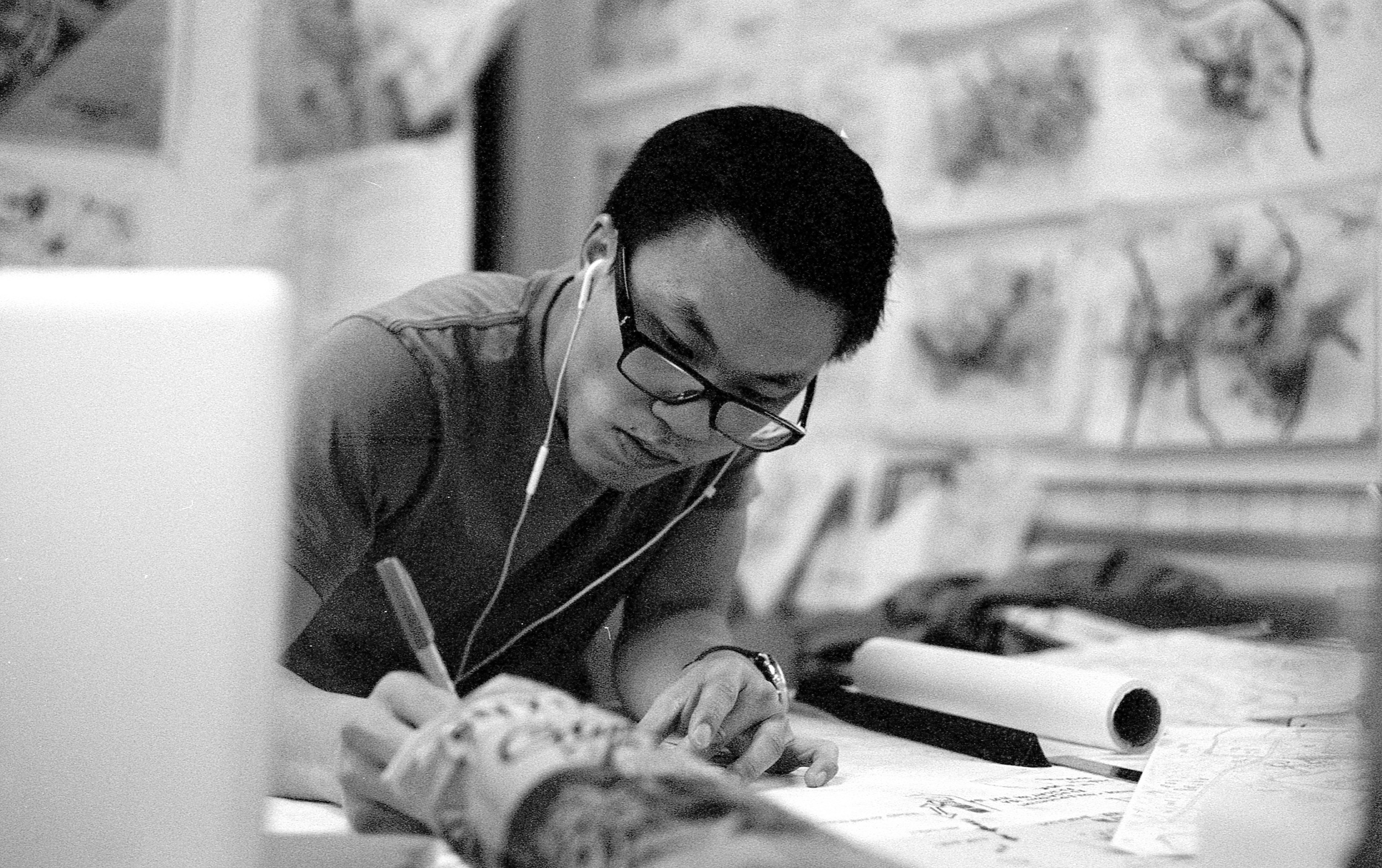 Drawing maps - College of Fine Arts (Architecture Studio)  |  Tri-X 400 @ 1600