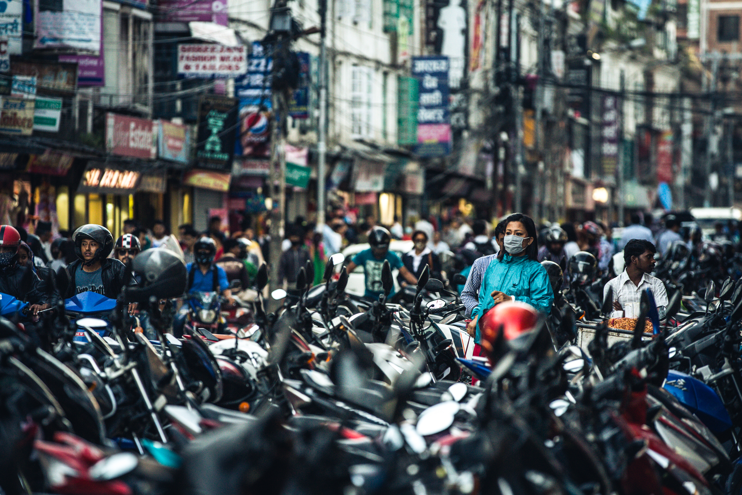 Two wheel chaos in Thamel.  200mm f3.5 1/250 ISO1000