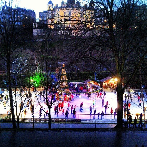 Ice Skating under the Castle. Edinburgh Scotland