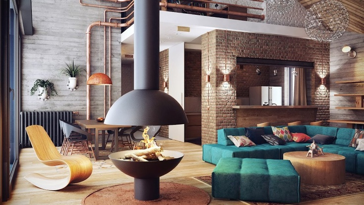 Exposed Brick & Exposed Copper Piping.