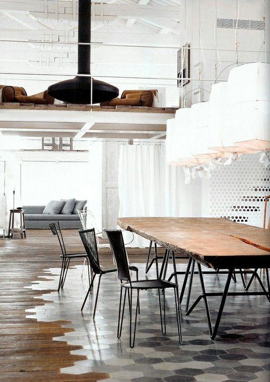 Timber floor meets tiles. Love the contrast.