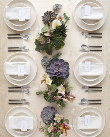 The perfect simple table setting for a dinner party. White napkin and crockery simply styled with mixed tropical flowers and bright succulents.