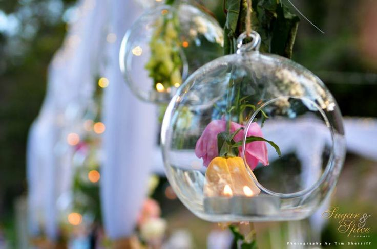 Hanging bulbs filled with tea light & upside-down roses. Styled by Sugar & Spice Events.